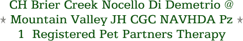 CH Brier Creek Nocello Di Demetrio @ Mountain Valley JH CGC NAVHDA Pz 1  Registered Pet Partners Therapy